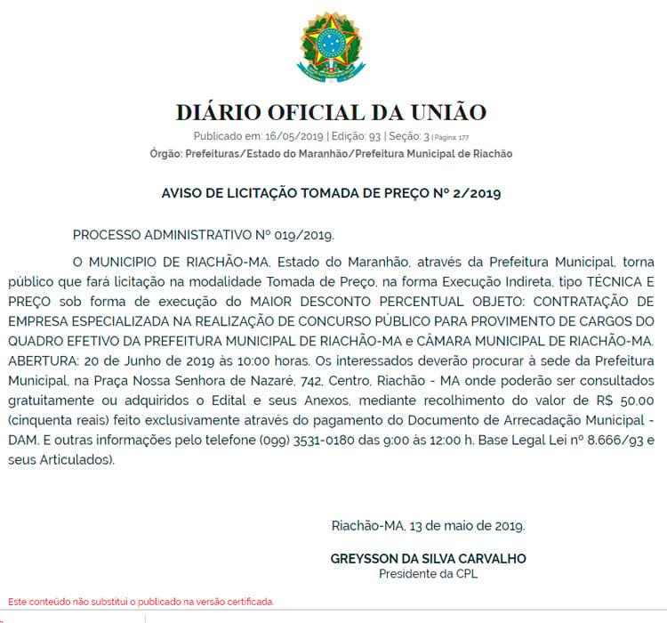 Prefeitura de Riachão-MA escolhe banca para concurso público em 2019