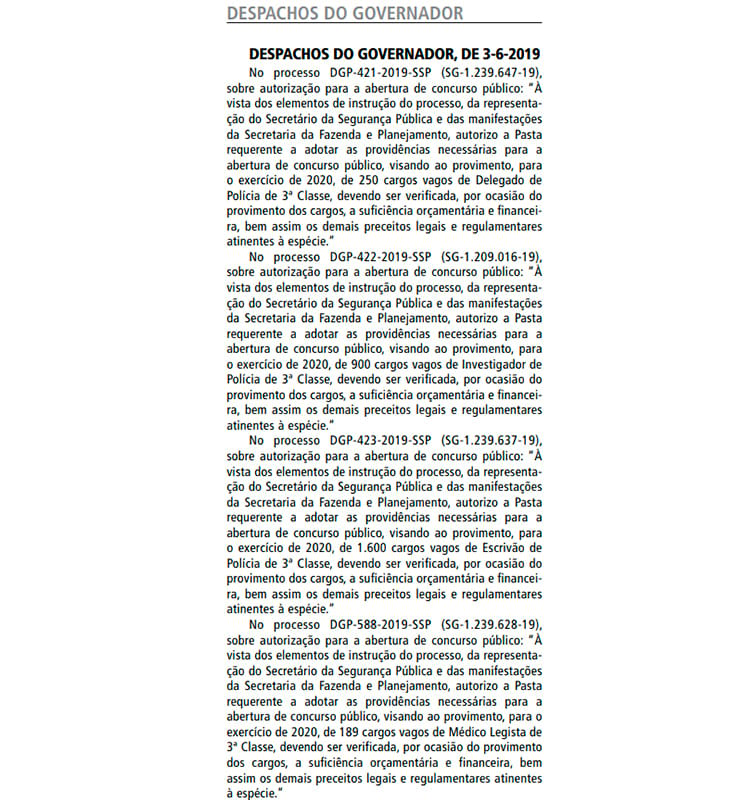Documento publicado no DOE desta terça, 04 de junho, visa preencher 2.239 vagas na Polícia Civil de São Paulo