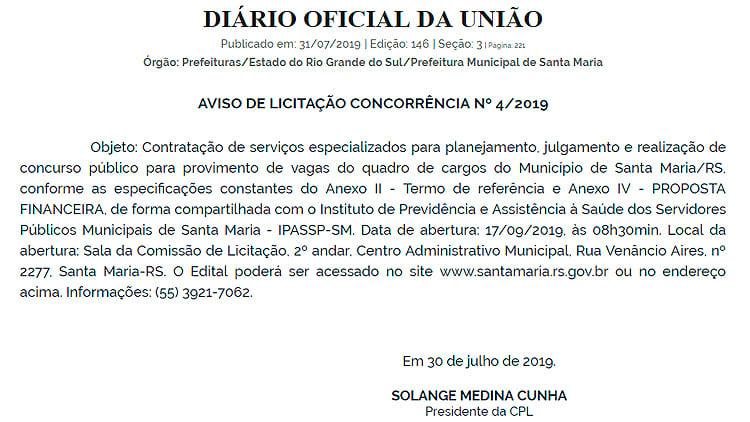 Prefeitura de Santa Maria-RS anuncia novo concurso em 2019 para 54 cargos