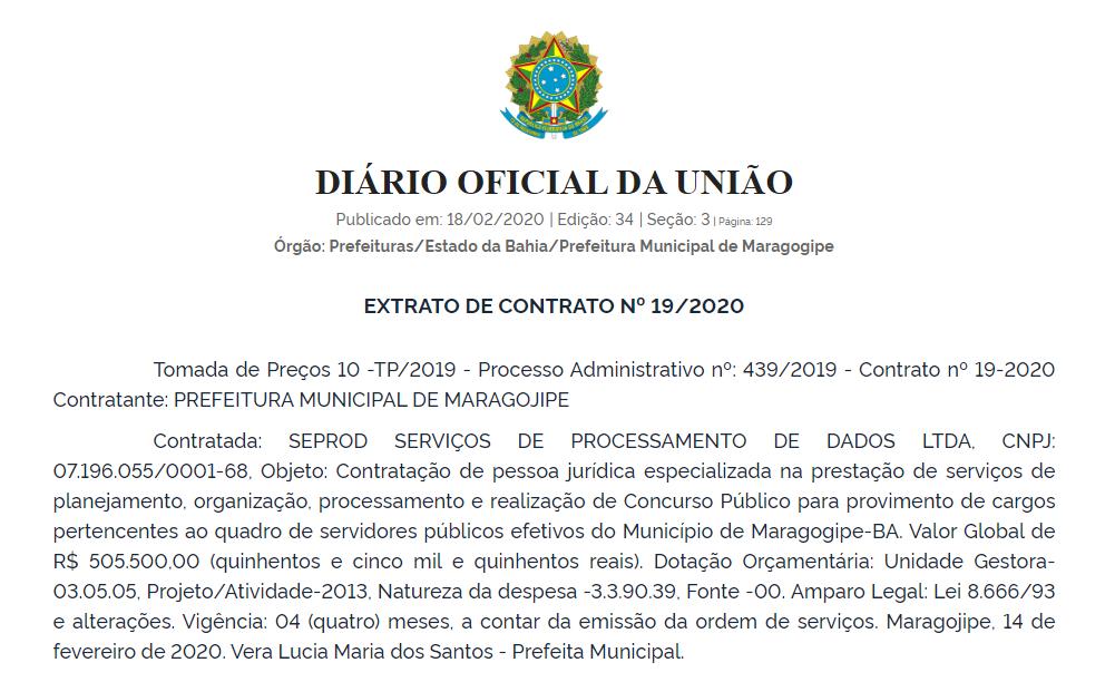 Concurso da Prefeitura de Maragogipe-BA define banca organizadora