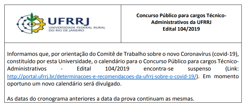 Concurso UFRRJ: comitê suspende calendário do certame por causa do coronavírus