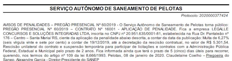 SANEP Pelotas ter concurso para preencher 74 vagas de níveis médio, técnico e superior.