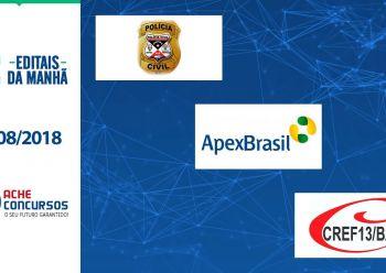 Novos concursos de agosto; PC-RR, Apex e CREF-BA lançam editais